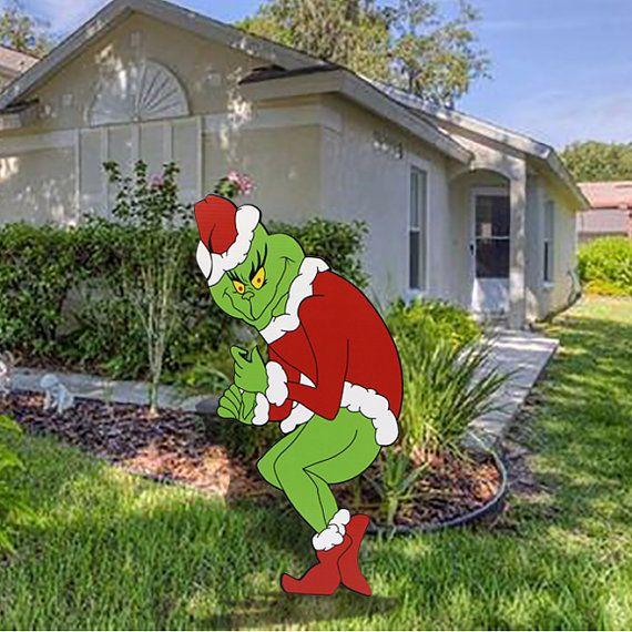 GRINCH Stealing Christmas Lights 48H x 21W Yard Happy Christmas