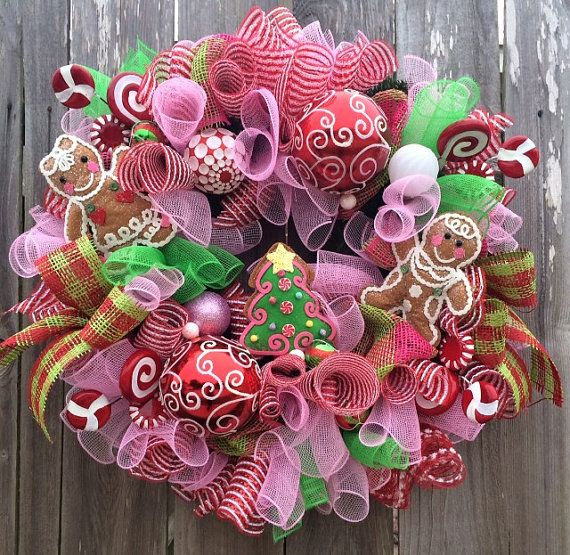 Christmas Wreath made with pink and green by BaBamWreaths