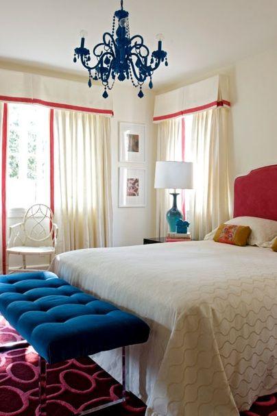 Royal Blue Hot Pink Upholstered Velvet Headboard White Bedding