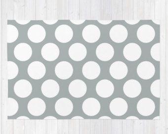 Gray Polka Dot Rug, Grey Rug, gray rug, dots rug, nursery rug, modern rug, 4x8 rug, floor rugs, grey decor, large area rug, choose 30 colors