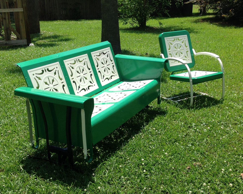 J R Bunting Glider And Chair Vintage Porch Vintage Metal Glider Lawn Furniture