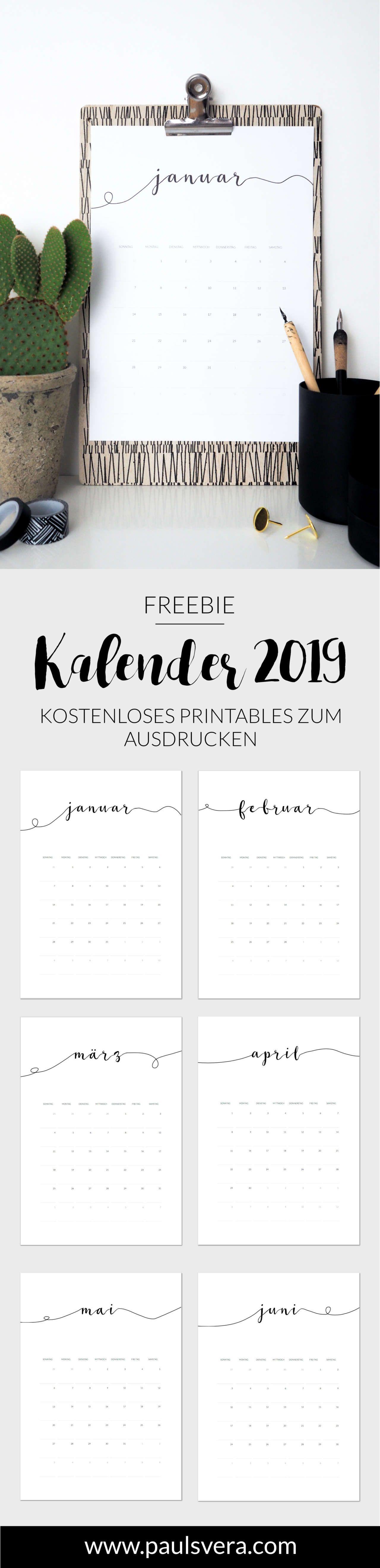 freebie minimalistischer kalender 2019 planning kalender 2018 kostenlose kalender und. Black Bedroom Furniture Sets. Home Design Ideas