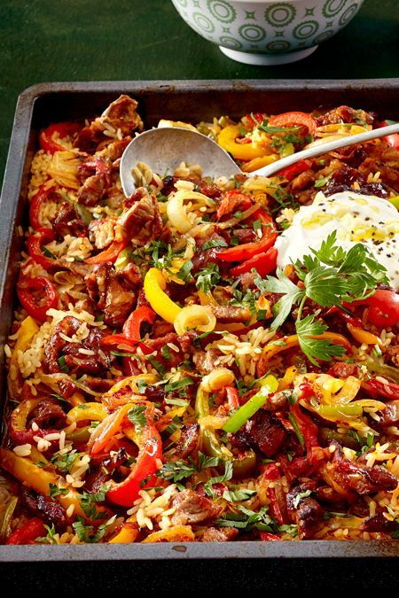 """Photo of """"One tray for everyone"""" -Oven rice meat recipe 