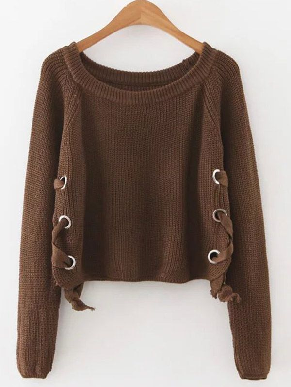 Only  18.61 for Grommet Lace Up Raglan Sleeve Jumper  0a0828a1e