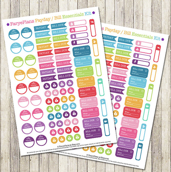 Payday /  bill due printable planner stickers for Erin Condren Lifeplanner, Filofax, Plum Paper Planner, scrapbooking / INSTANT DOWNLOAD