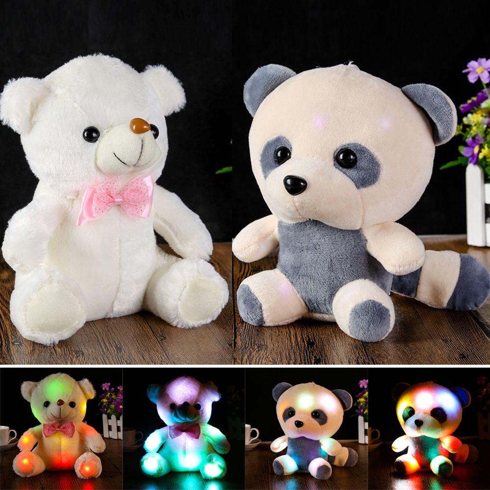 Colorful Indah Glowing LED Flash Cahaya Besar Panda Boneka Boneka Beruang  Hug Dipimpin Stuffed Plush Toy Anak Hadiah untuk Ulang Tahun 2620765039