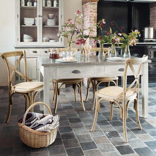 Table de salle à manger en bois du0027acacia gris L 140 cm Ambiance