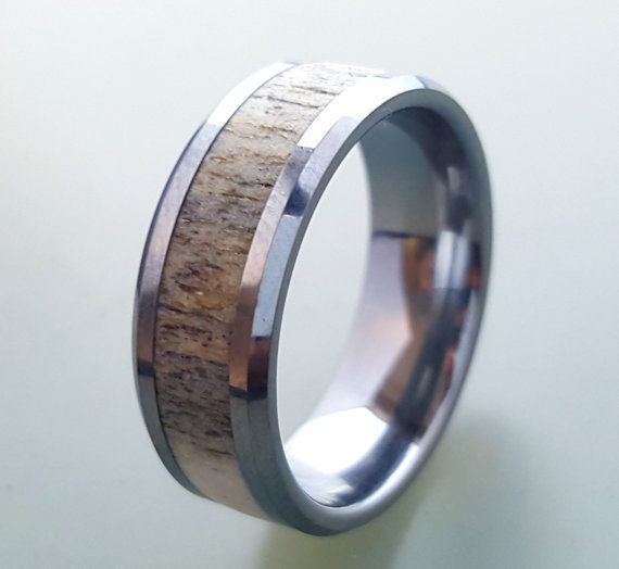 tungsten wedding ringdeer antler ring tungsten carbide ring tungsten ring with deer - Deer Antler Wedding Rings