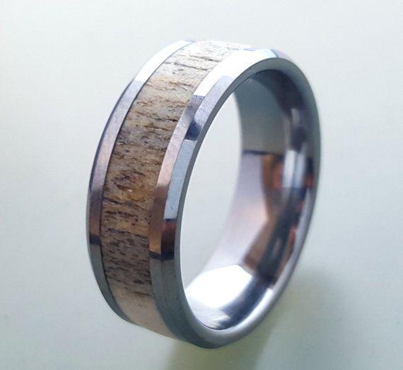 tungsten wedding ringdeer antler ring tungsten carbide ring tungsten ring with deer - Deer Antler Wedding Rings