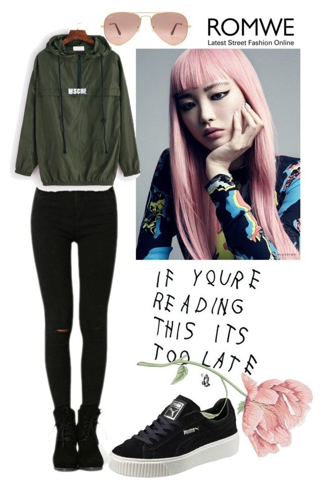 """""""romwe contest"""" by tocak ❤ liked on Polyvore featuring Puma and Ray-Ban"""