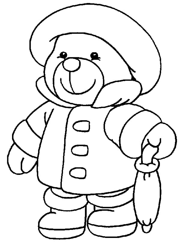 Holidays Teddy Bear In Rainy Season Coloring Pages