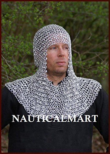 New Flat Riveted With Flat Warsher Chain mail shirt 9 mm Medieval Coif Hood best gift