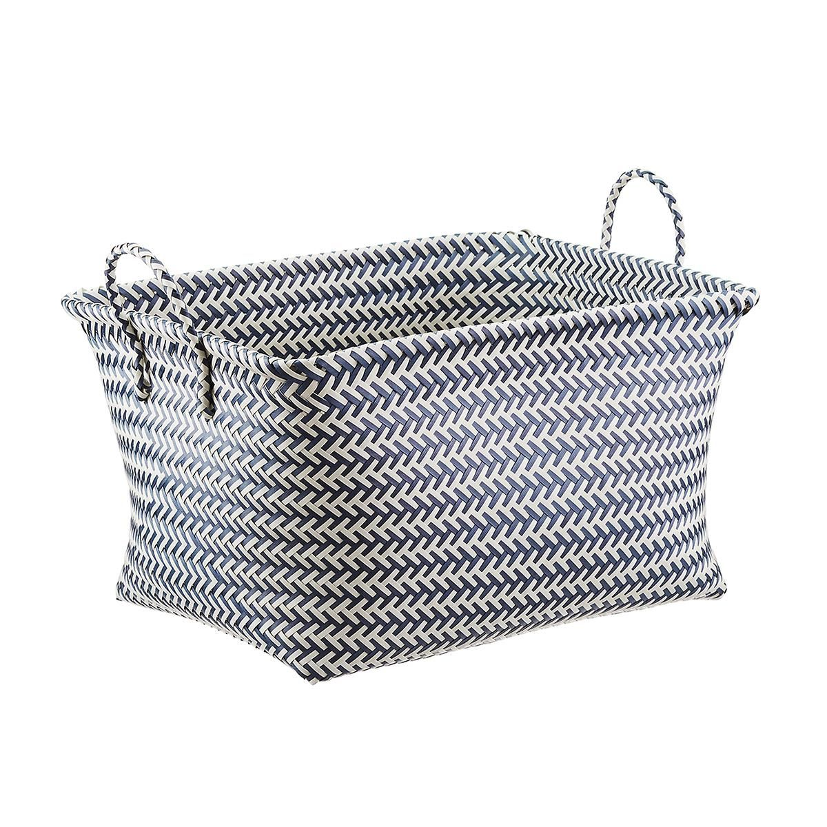 Slate Blue White Strapping Laundry Basket With Images