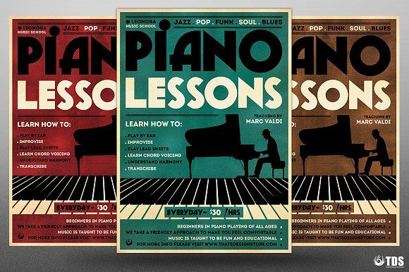 Piano Lessons Flyer Template  Piano Lessons Flyer Template And
