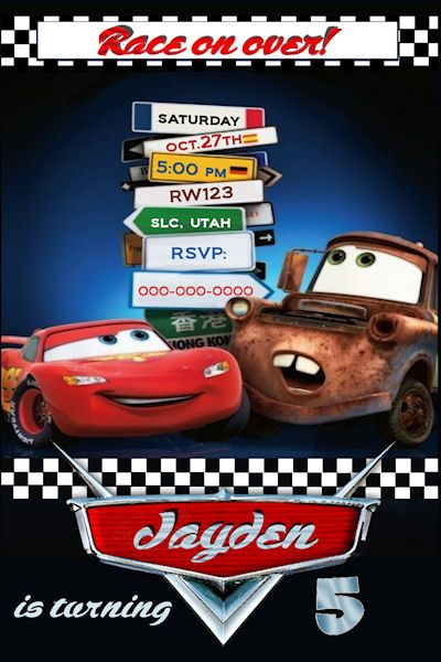 Cars 2 Custom Birthday Invitation
