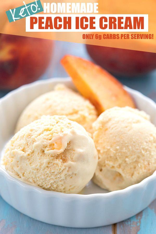 Keto Peach Ice Cream #ketoicecream
