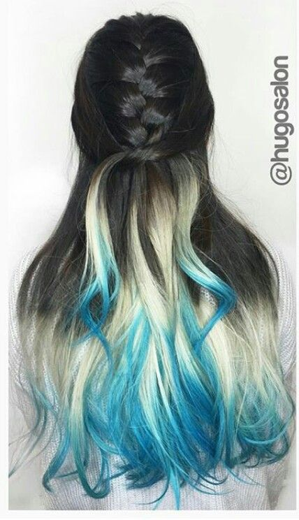 Black Blonde Blue Ombre Dyed Hair Color Hair Styles Hair Dye