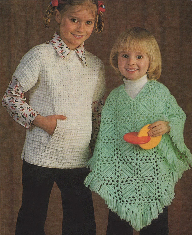 Girls Tabbard / Over Sweater PDF Knitting Pattern and Poncho PDF ...