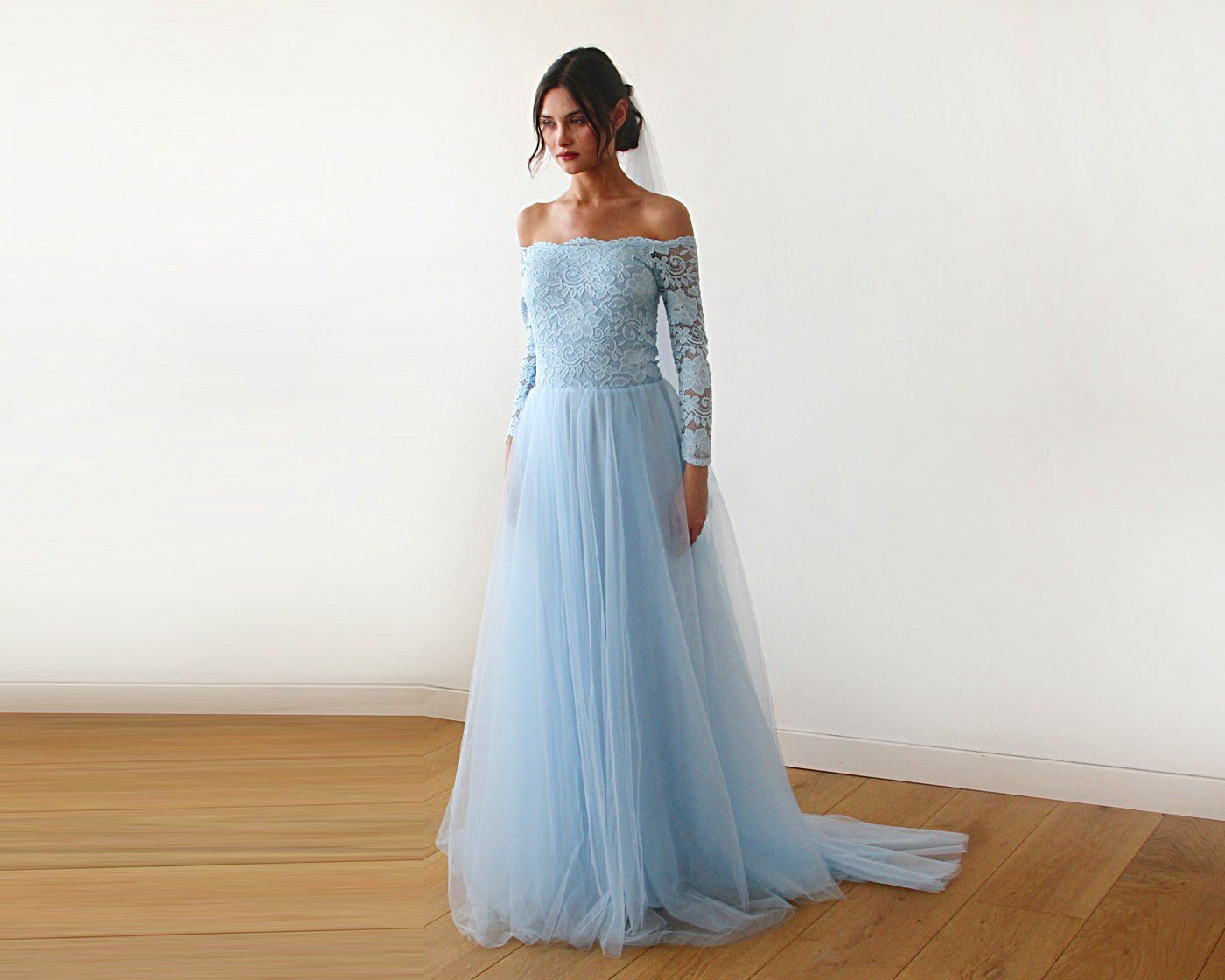 392a7bd43c2df9 Light blue Off-The-Shoulder Lace and Tulle Train Wedding Gown 1162 ...