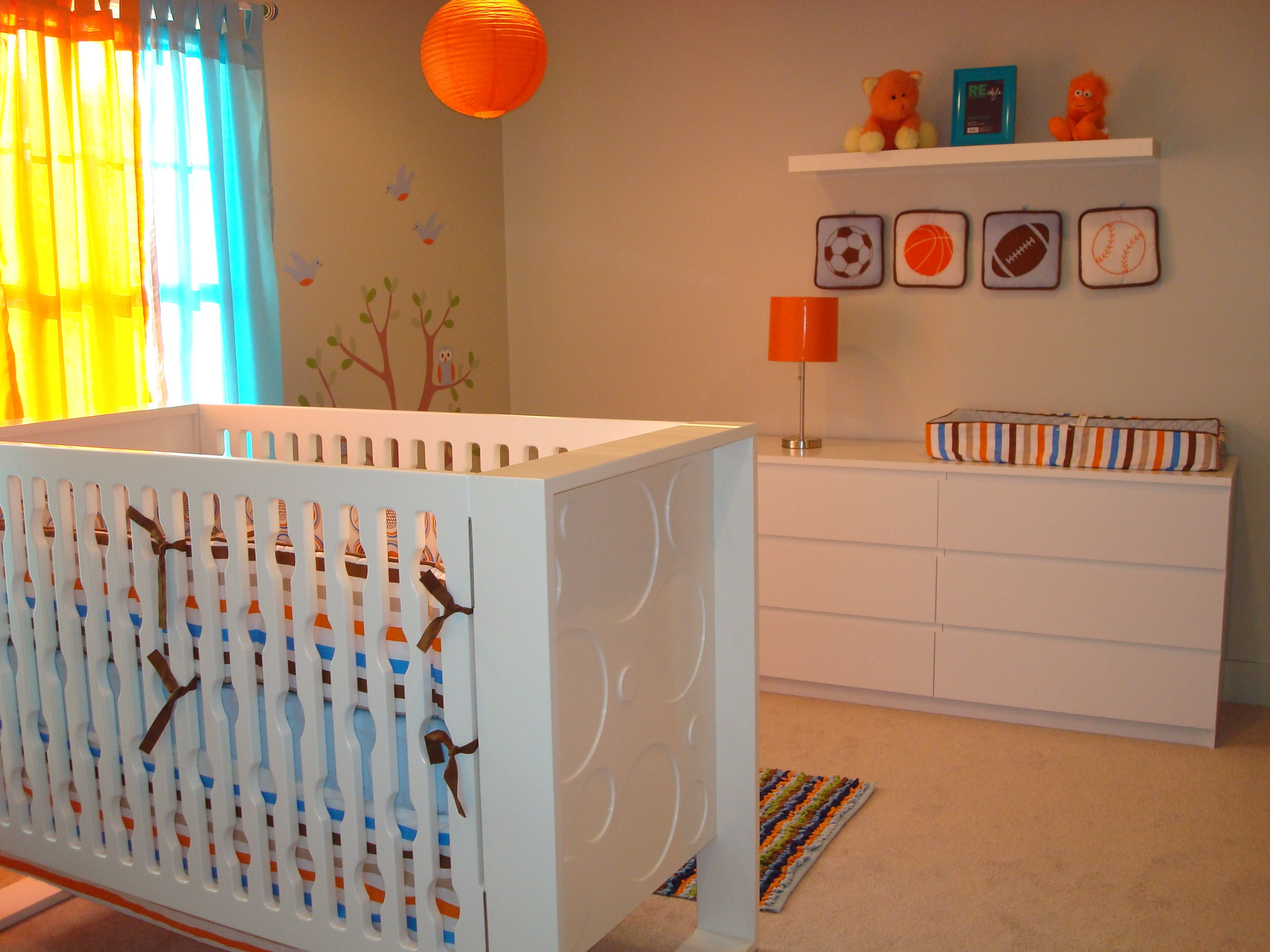 Orange Navy And White Baby Bedding To Say But Wow A Fabulously Modern Aqua Room