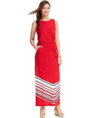 Tommy Hilfiger Sleeveless Chevron-Print Maxi Dress