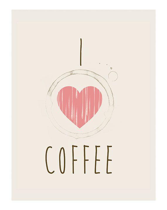 I Heart Coffee Art Print on Etsy, $15.00