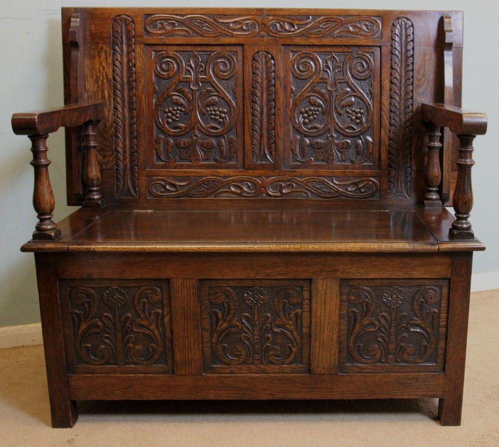 Surprising Antique Oak Box Settle Monks Bench Hall Seat In 2019 Monks Cjindustries Chair Design For Home Cjindustriesco