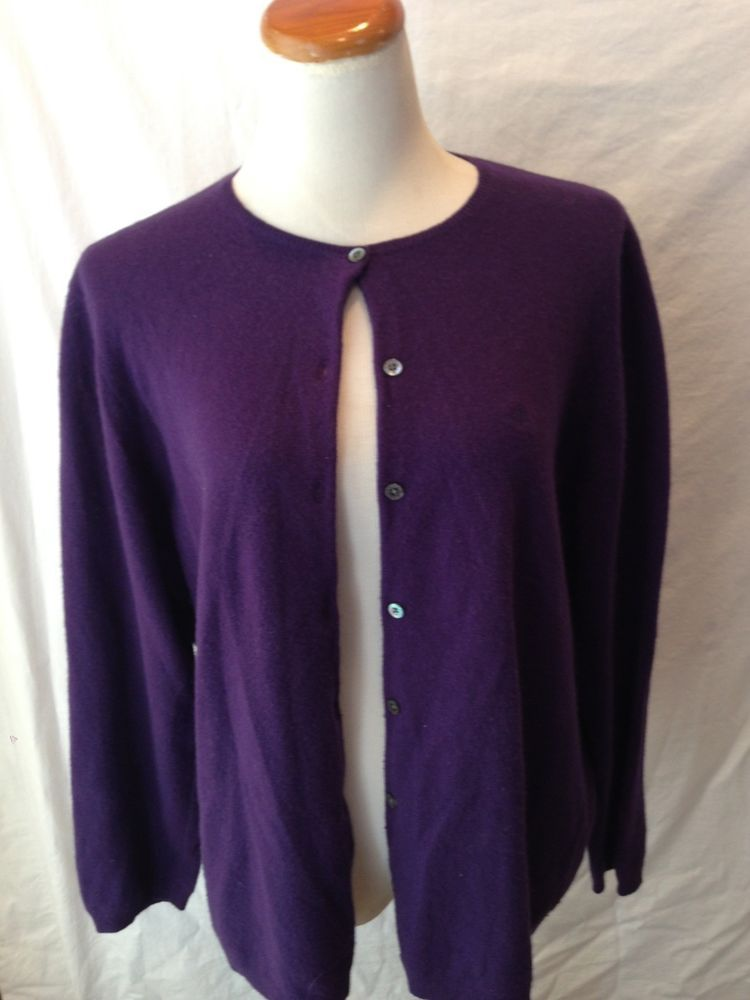 RALPH LAUREN purple CASHMERE blend cardigan sweater 2X ...