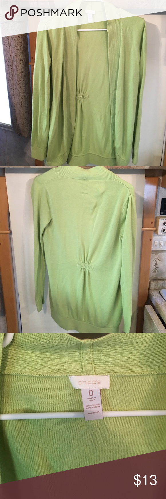 Chico's - Lime Green Cardigan - Size Small | Sweater cardigan ...