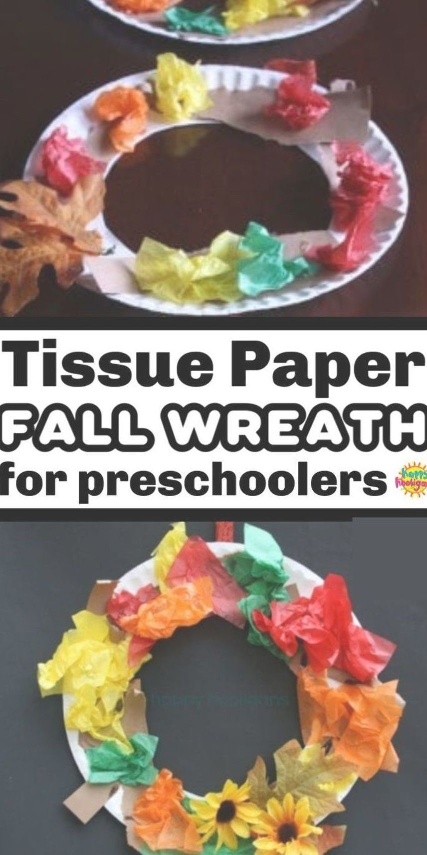 A tissue paper fall wreath is the perfect fall craft for toddlers and preschoolers. Easy and inexpensive! #fallcraftsfortoddlers
