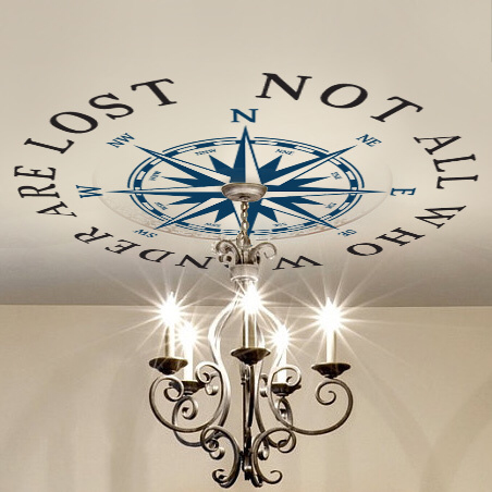 Photo of Ceiling Medallion NOT ALL WHO WANDER ARE LOST Compass Rose Decal Nautical Decor