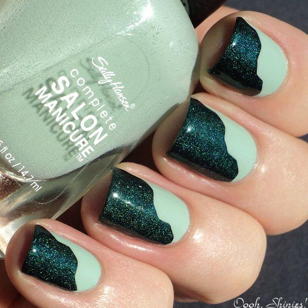 Green Wavy Nails | uñas | Pinterest