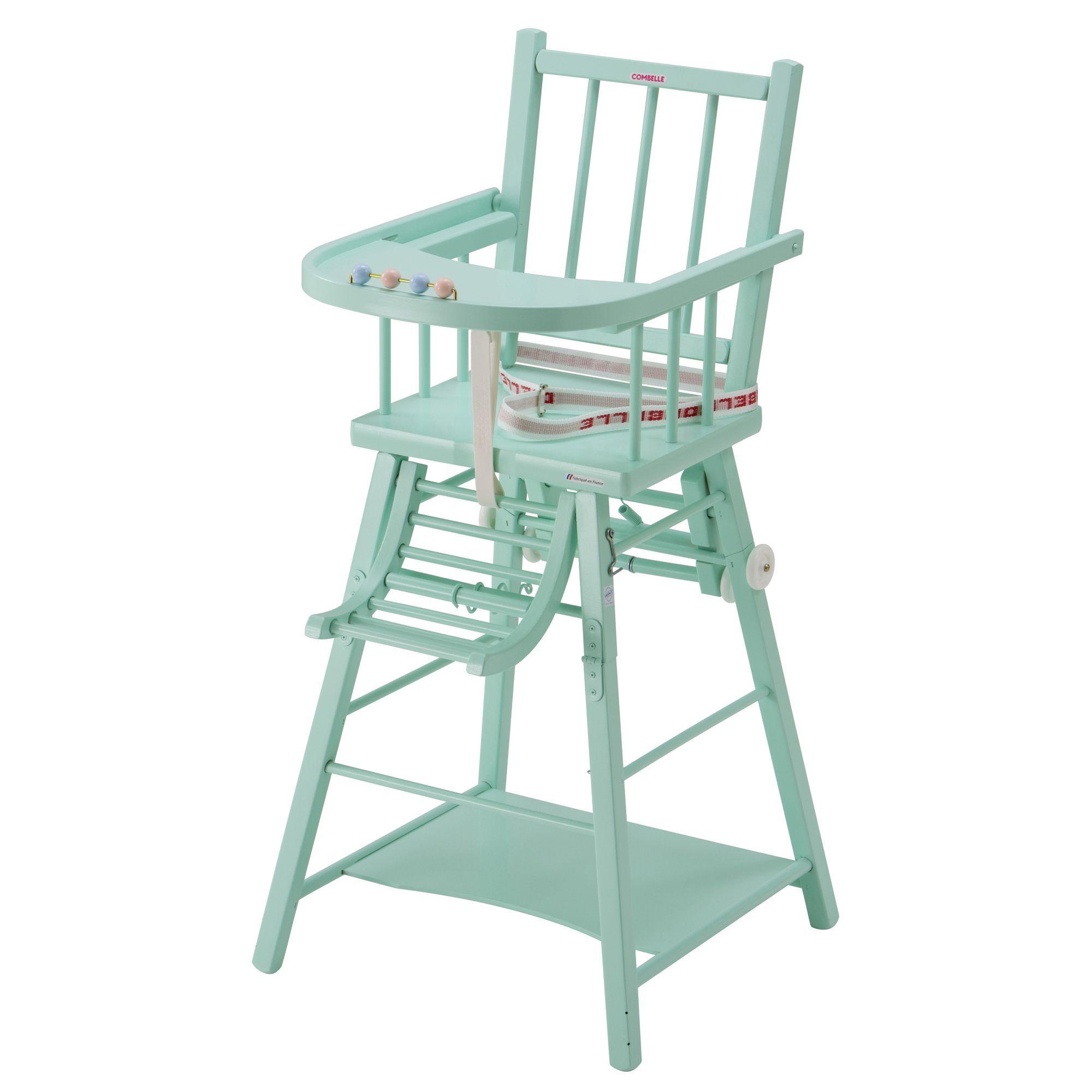 Chaise haute transformable pour bébé COMBELLE en hêtre VERT Laqué ...