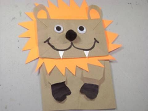 How To Make A Puppet Lion With Grocery Recycled Bag And Lots Of Other Craft Ideas Complete With How To Videos Paper Bag Crafts Paper Bag Puppets Lion Craft