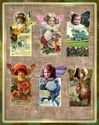 vintage flower seed packges   Altered Art Vintage Fairy Seed Packets Digital Download ...