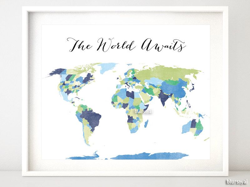 Printable world map with countries us states canadian provinces custom quote color size printable world map with countries us states canadian provinces and australian states world map print gumiabroncs Image collections
