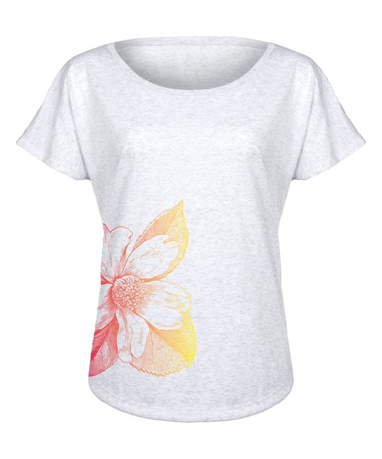Heather White Gradient Flower Tri-Blend Dolman Tee