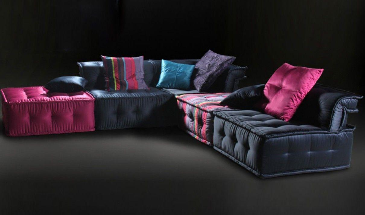 Versus Chloe Modern Fabric Sectional Sofa In Multi Colored