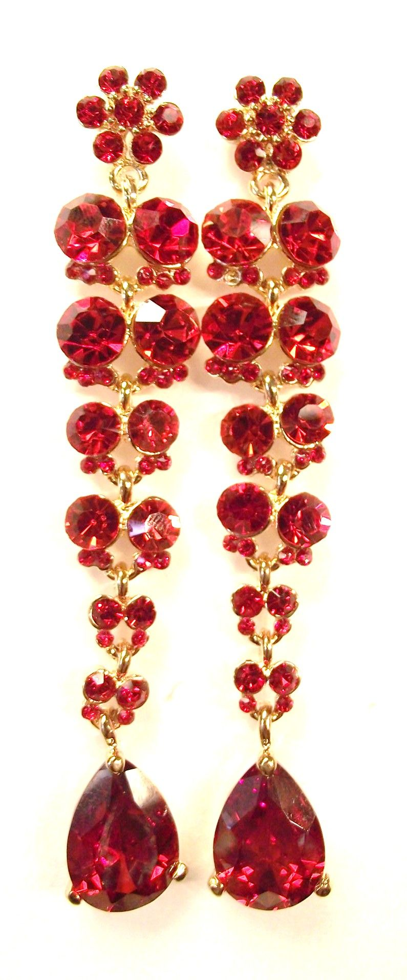 Ruby Red Swarovski Crystals and CZ Bridal Pageant Earrings
