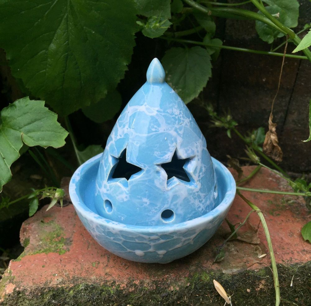 Star Incense Holder. Blue Ceramic Pottery Cone Burner. Pagan Witch Wicca