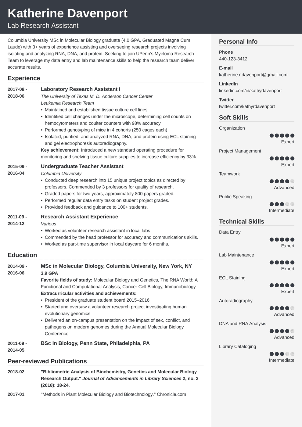 research assistant resume template cubic in 2020 Job