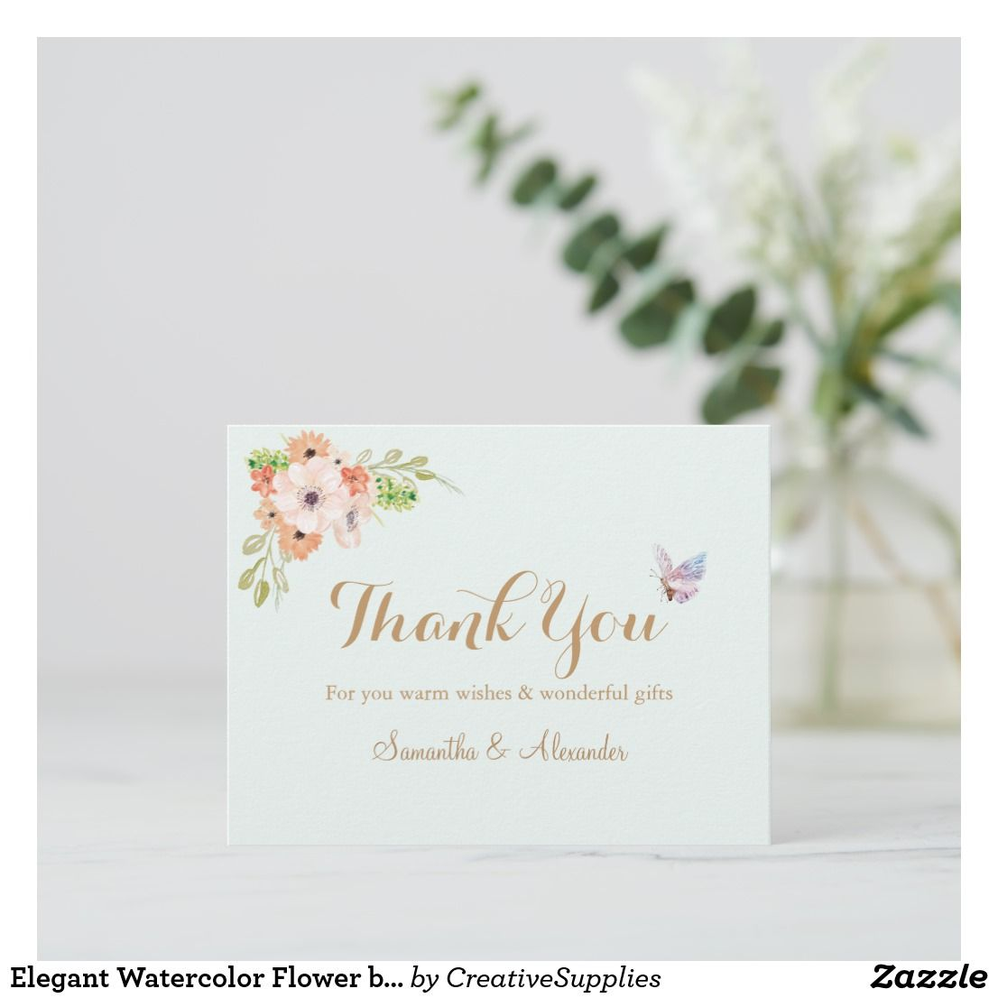 Elegant Watercolor Flower Butterfly Thank You Card Baby Shower Thank You Cards Thank You Cards Baby Thank You Cards
