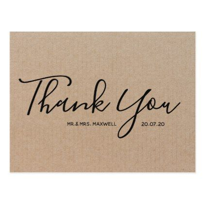 Wedding Thank You  Craft Paper Script Postcard  Overlay Template