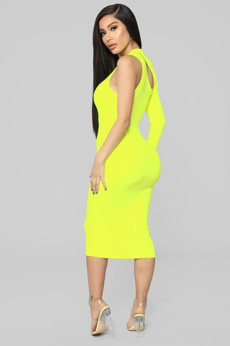 73cadb6525 Available In Black, Royal And Neon Yellow Asymmetrical Midi Dress Long  Sleeve One Shoulder Cut Out Detail Stretch 48% Polyester 48% Rayon 4%  Spandex Made in ...