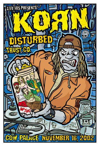 Korn playing at the Cow Palace in San Francisco on November 16, 2002 with Disturbed'