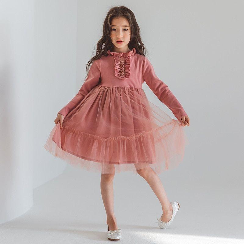 db46d62f6974 Girls Dress Long Sleeve Princess Dress Autumn Winter Girls Clothes Children  Clothing Girls Pink Evening Party