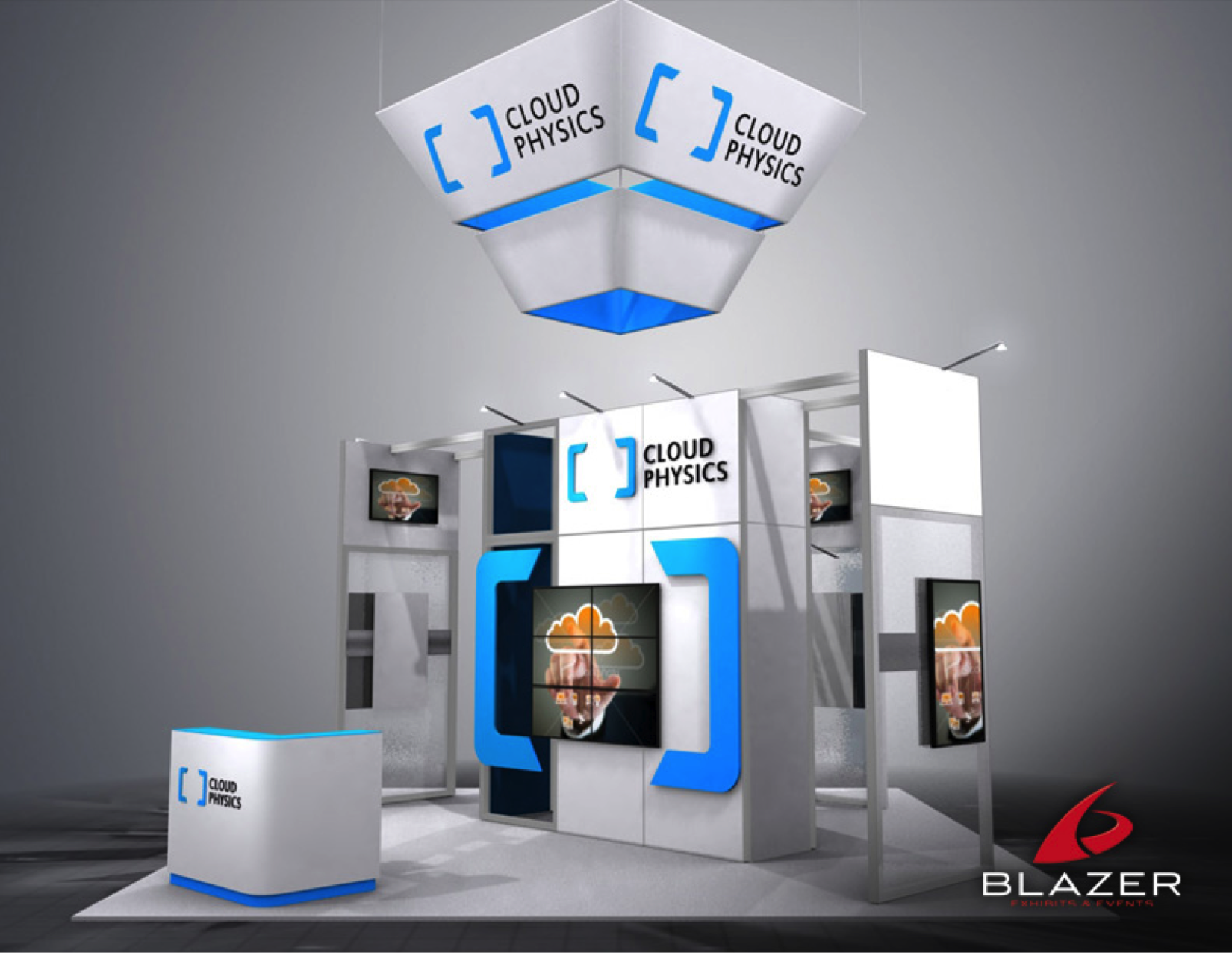 Cloud Physics Booth Design By Blazer Exhibits Events Tradeshowbooth Tradeshow Design