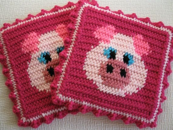 Crocheted Pink Pig Pink Pig Pot Holders Set Of Two Crochet Pig