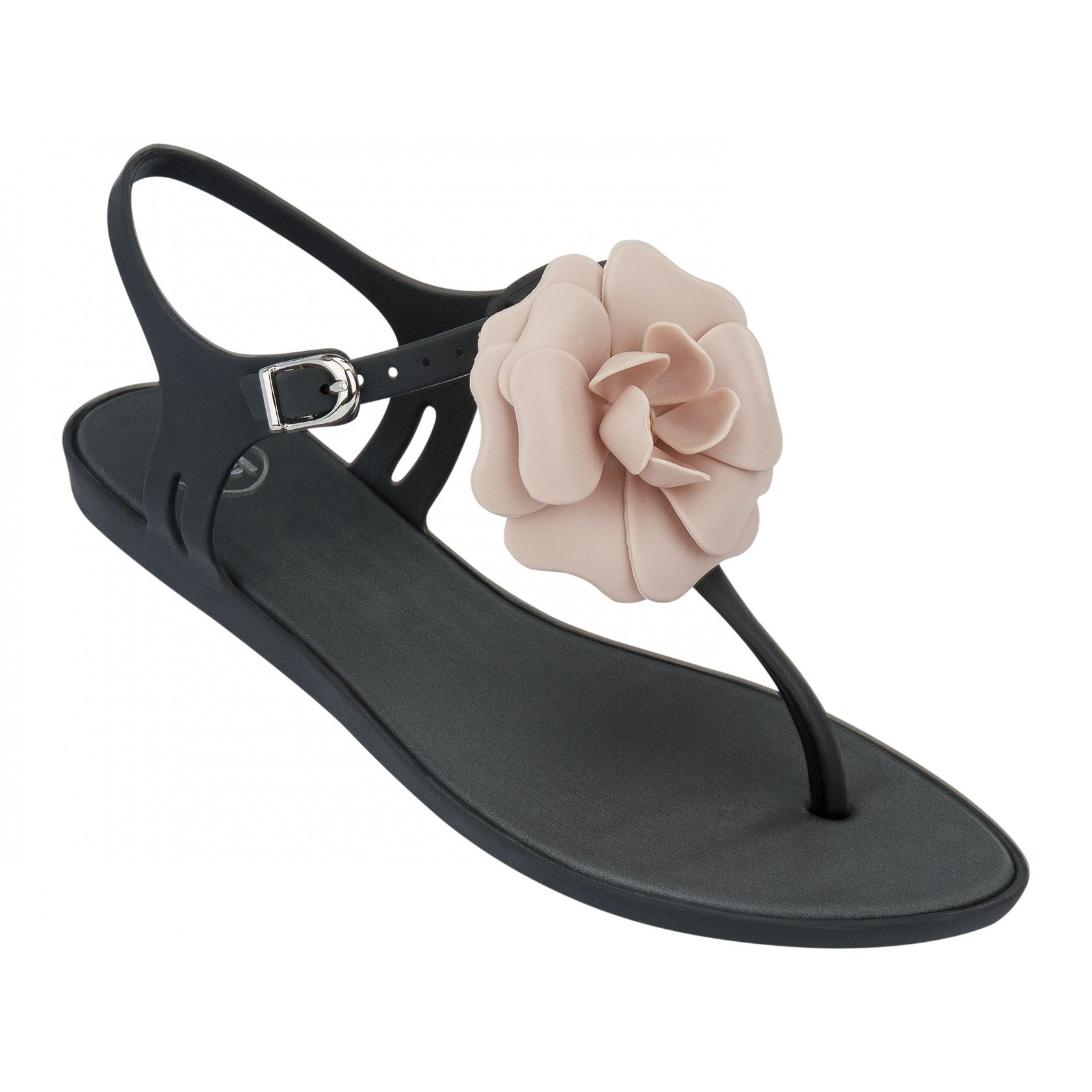 Mel by Melissa Special Black Contrast Flower Sandals
