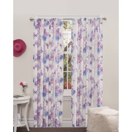 Mainstays Paris Lavender Girls Bedroom Curtains, Set Of Two